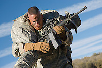 US Army soldier carrying wounded soldier