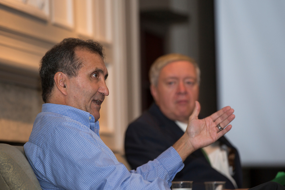 Pete Souza answers questions about being Barack Obama's presidential photographer during the President's Reception in Chaddock Alumni Room on September 19, 2017.