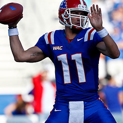 December 4, 2010; Ruston, LA, USA;  Louisiana Tech Bulldogs quarterback Ross Jenkins (11) throws a pass against the Nevada Wolf Pack during the first half at Joe Aillet Stadium.  Mandatory Credit: Derick E. Hingle