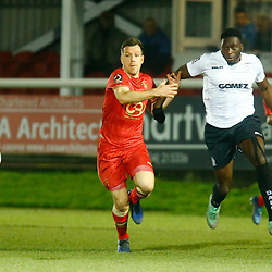 Dover's forward Inih Effiong chases down the ball during the National League match between Dover Athletic FC and Hartlepool United FC at Crabble Stadium, Kent on 24 November 2018. Photo by Matt Bristow.
