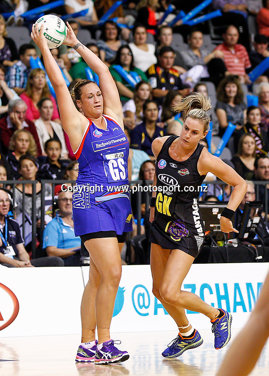 Northern Mystic's Cathrine Latu and Waikato BOP Magic's Leana De Bruin in action during the ANZ Championship netball match - Waikato BOP Magic v Northern Mystics at Claudelands Arena, Hamilton, New Zealand on Saturday 20 April 2014.  Photo:  Bruce Lim / www.photosport.co.nz