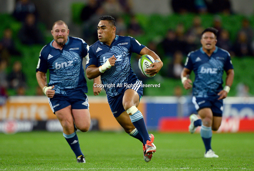 Francis Saili (Blues)<br /> Auckland Blues vs Melbourne Rebels<br /> Rugby Union - 2015 Investec Super Rugby <br /> AAMI Park, Melbourne Australia<br /> Friday 8th May 2015<br /> &copy; Sport the library / Jeff Crow