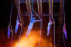 © licensed to London News Pictures. London, UK 04/01/2014. Cirque du Soleil acrobats perform 'Spanish Webs' act during the dress rehearsal of Cirque du Soleil's 'Quidam' at Royal Albert Hall in London on January 4, 2014. Photo credit: Tolga Akmen/LNP