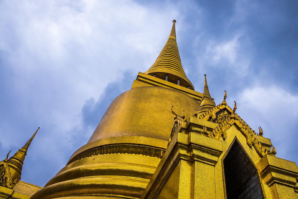 BANGKOK, THAILAND - CIRCA OCTOBER 2014: Detail view of Wat Phra Kaew, Gold Thai Pagoda in the Bangkok Royal Palace