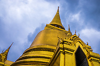 BANGKOK, THAILAND - CIRCA OCTOBER 2014: Detail view of Wat Phra Kaew, Gold Thai Pagoda in the Bangkok Royal Palace