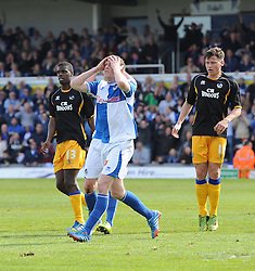Bristol Rovers' David Clarkson goes close with a header - Photo mandatory by-line: Joe Meredith/JMP - Mobile: 07966 386802 03/05/2014 - SPORT - FOOTBALL - Bristol - Memorial Stadium - Bristol Rovers v Mansfield - Sky Bet League Two