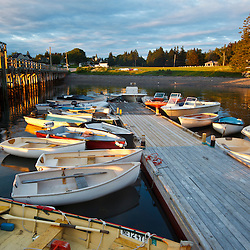 Skiffs at the dock in the harbor in Islesford, Maine. Little Cranberry Island.