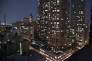 view from hotel room window of midtown Manhattan around 52nd street