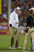 03 November 2012: Head coach Lane Kiffen of the USC Trojans argues a call against the Oregon Ducks during the second half of Oregon's  62-51victory over USC at the Los Angeles Memorial Coliseum in Los Angeles, CA.