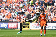 Notts County midfielder Jorge Grant (10) attempts an over-head kick during the EFL Sky Bet League 2 match between Notts County and Luton Town at Meadow Lane, Nottingham, England on 5 May 2018. Picture by Jon Hobley.