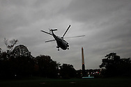 Marine One lifts off from the South Lawn as President Barack Obama departs the White House for Florida on Octber 28, 2012. photo dennis Brack...