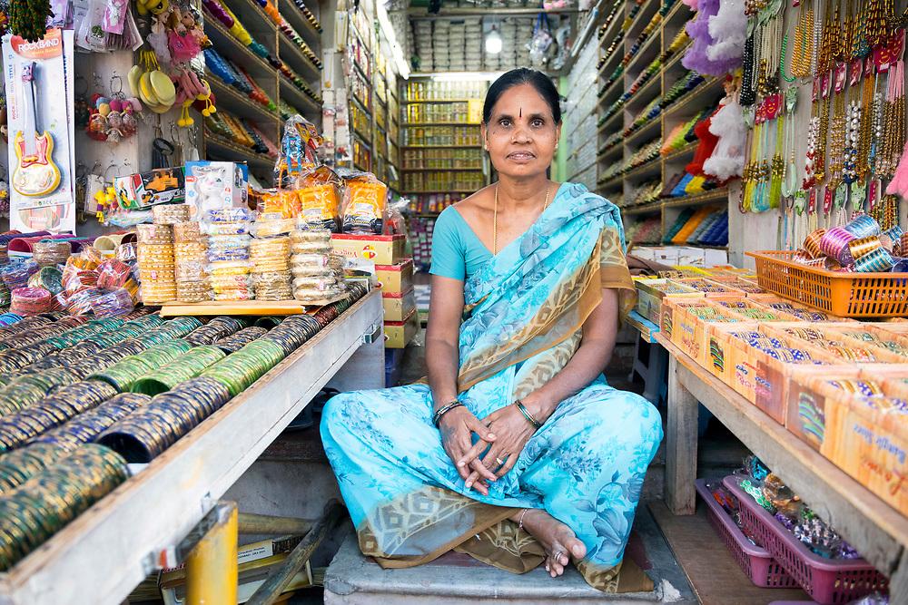 KADIRI, INDIA - 03rd November 2019 - Portrait of shop keeper at a market stall in Kadiri, Andhra Pradesh, South India