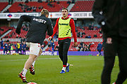 Middlesbrough forward Jordan Hugill (11) warming up during the EFL Sky Bet Championship match between Middlesbrough and Ipswich Town at the Riverside Stadium, Middlesbrough, England on 29 December 2018.
