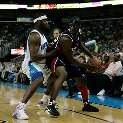 05 November 2008: Atlanta Hawks guard Ronald Murray (22) works against New Orleans Hornets guard Devin Brown (23) during a 87-79 victory by the Atlanta Hawks over the New Orleans Hornets at the New Orleans Arena in New Orleans, LA..