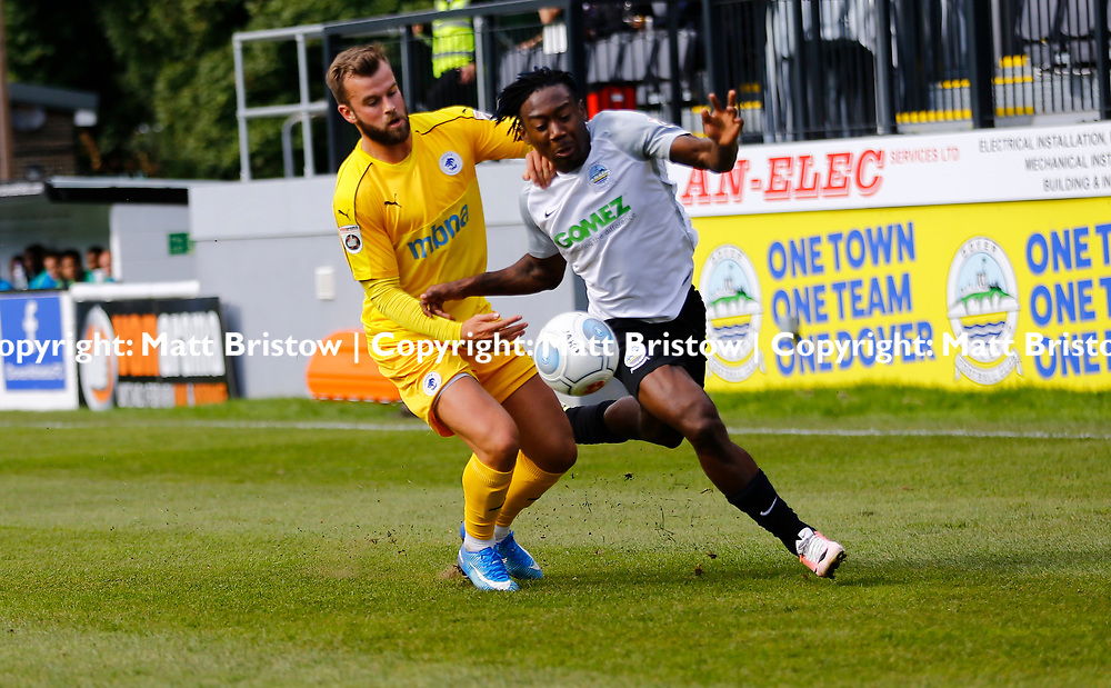 SEPTEMBER 1y6:  Dover Athletic against Chester FC in Conference Premier at Crabble Stadium in Dover, England. Doveer ran out emphatic winners 4 goal to nothing. Chester's Andy Hails tries to haul back Dover's forward Kadell Daniel. (Photo by Matt Bristow/mattbristow.net)