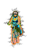 Digitally enhanced image Of a woman riding a bicycle model release available