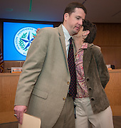 Dr. Andrew Houlihan recognizes Michele Pola during a principal meeting, April 9, 2014.