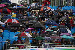 LIVERPOOL, ENGLAND - Saturday, June 18, 2011: The rain covers on centre court during a brief rain delay on day three of the Liverpool International Tennis Tournament at Calderstones Park. (Pic by David Rawcliffe/Propaganda)