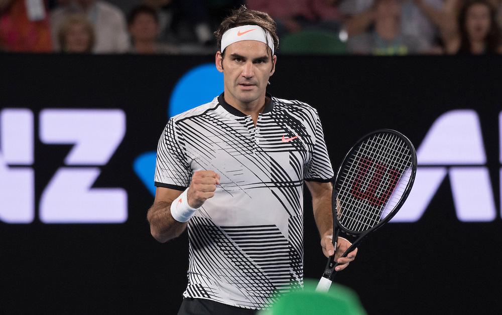 Roger Federer of Switzerland during of the men's final on day fourteen of the 2017 Australian Open at Melbourne Park on January 29, 2017 in Melbourne, Australia.<br /> (Ben Solomon/Tennis Australia)