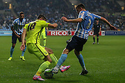 Southend United defender Ryan Leonard and Coventry City defender Chris Stokes tackle for the ball during the Sky Bet League 1 match between Coventry City and Southend United at the Ricoh Arena, Coventry, England on 31 August 2015. Photo by Simon Davies.
