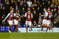 Marvin Sordell of Burnley (2nd left) celebrates scoring the opening goal against Tottenham Hotspur during the FA Cup match at White Hart Lane, London<br /> Picture by David Horn/Focus Images Ltd +44 7545 970036<br /> 14/01/2015