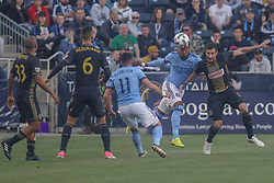 April 14, 2017 - Chester, PA, United States of America - New York City FC Attacker RODNEY WALLACE (23) heads the ball away from the defender in the first half of a Major League Soccer match between the Philadelphia Union and New York City FC Friday, Apr. 17, 2016 at Talen Energy Stadium in Chester, PA. (Credit Image: © Saquan Stimpson via ZUMA Wire)