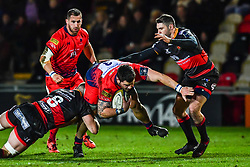 Simon Kerrod of Worcester Warriors is tackled by Harri Keddie of Dragons - Mandatory by-line: Craig Thomas/JMP - 02/02/2018 - RUGBY - Rodney Parade - Newport, Gwent, Wales - Dragons v Worcester Warriors - Anglo Welsh Cup