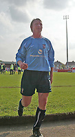 Photo. Andrew Unwin<br />Doncaster Rovers v York, Nationwide League Division Three, Earth Stadium, Belle Vue, Doncaster 24/04/2004.<br />York's player-manager, Chris Brass leaves the field after the loss that sees his team relegated.
