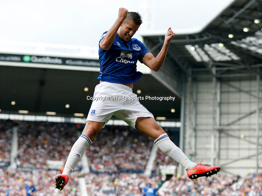 13 September 2014 - Barclays Premier League - West Brom v Everton - Everton's Kevin Mirallas celebrates his goal (0-2) - Photo: Paul Roberts / Offside.