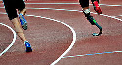 Oscar Pistorius (R) of South Africa competes the Men's 400 Final B race during the Samsung Diamond League meeting at Crystal Palace in London August 13, 2010.