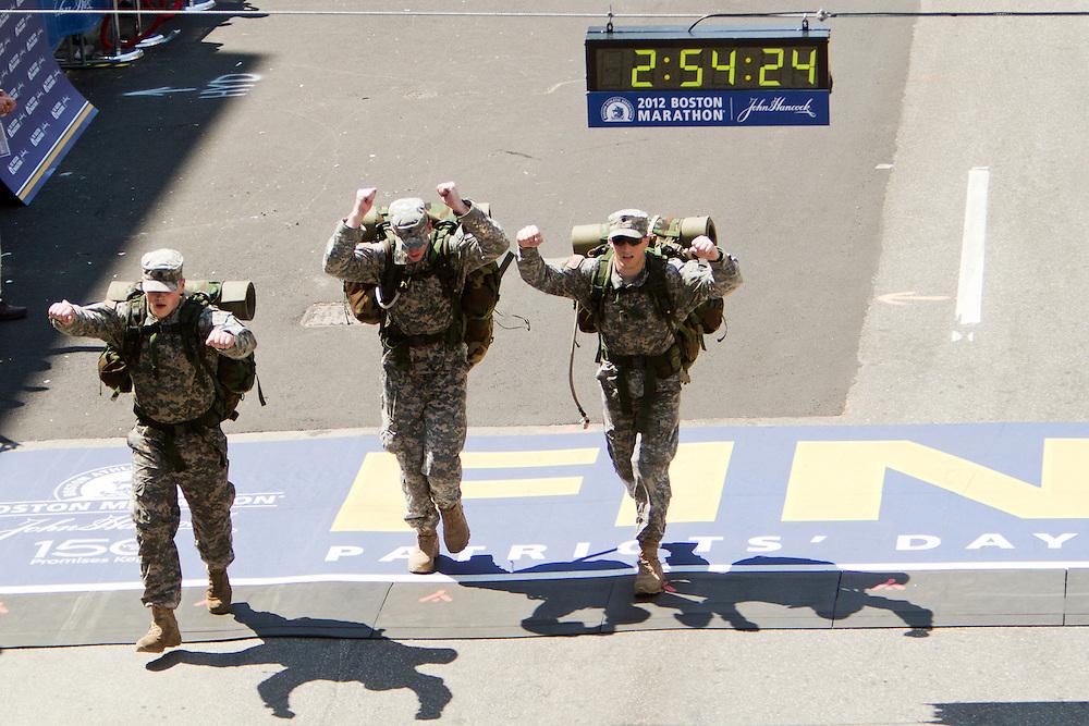 Marines cross finish line at Boston Marathon