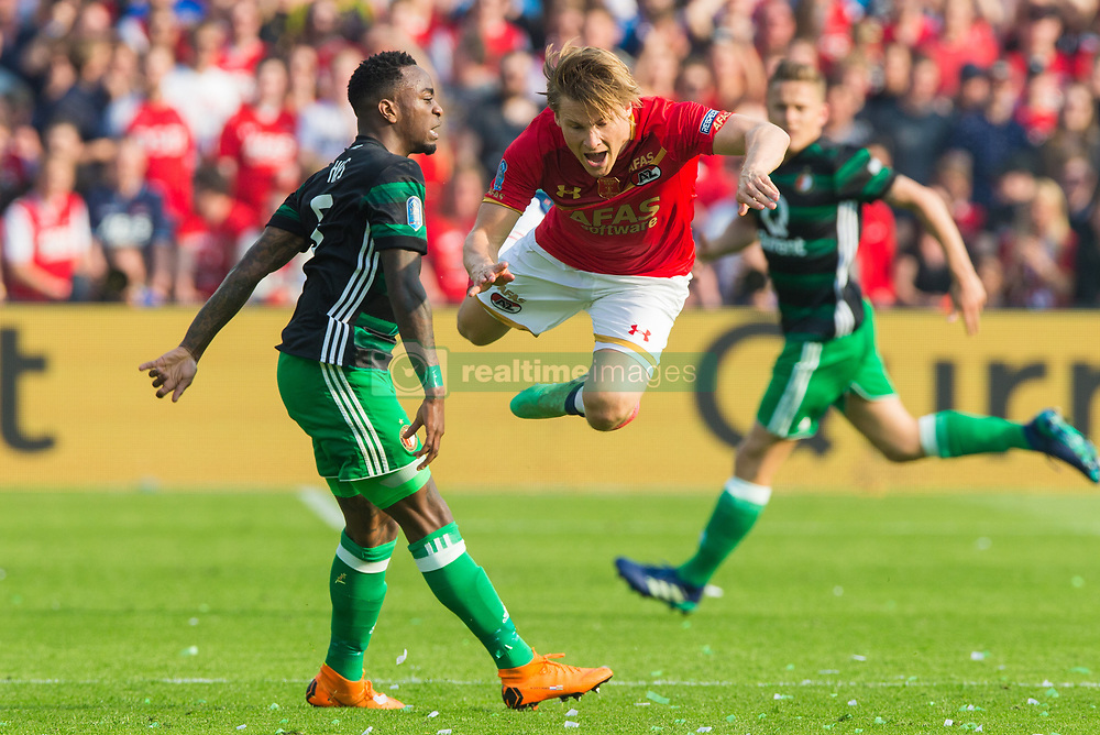 Ridgeciano Haps of Feyenoord, Jonas Svensson of AZ during the Dutch Toto KNVB Cup Final match between AZ Alkmaar and Feyenoord on April 22, 2018 at the Kuip stadium in Rotterdam, The Netherlands.