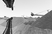 black and white image of iron ore mine