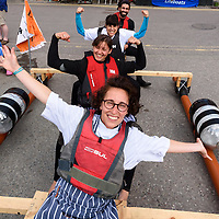 REPRO FREE<br /> Julia Bertuzzi, Siria Rivadossi, Ana Gonzalez and Jose Diaz from The Bulman pictured on board the 'Iarlaith Beasai' raft  before the start of the RNLI Raft Race in Kinsale on Saturday of the Bank Holiday Weekend<br /> Picture. John Allen