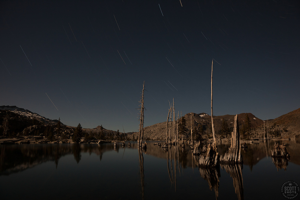 """""""Lake Aloha at Night"""" - A long exposure photograph lit by the moon of Lake Aloha in the Tahoe Desolation Wilderness."""