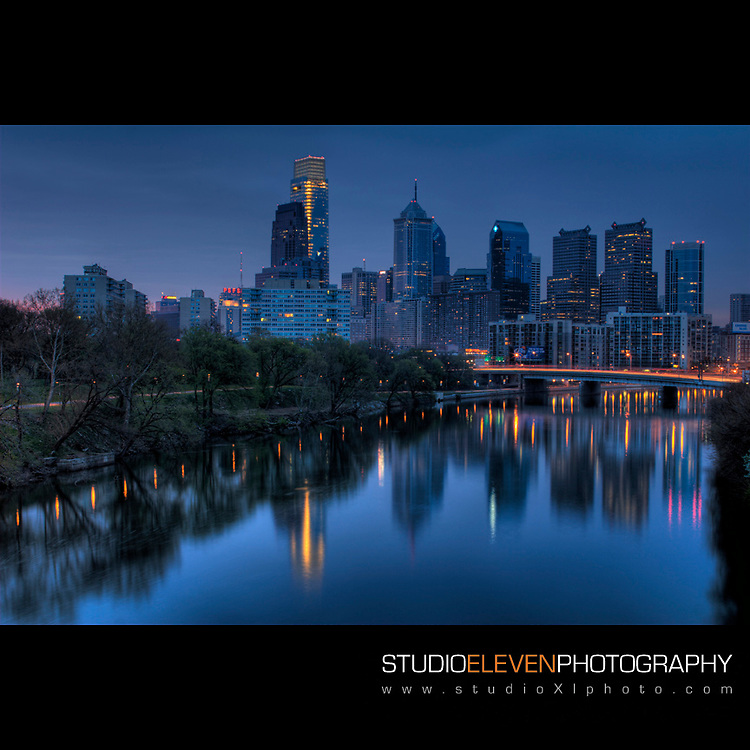 A view on the Philadelphia skyline at sunrise.  April 2010.