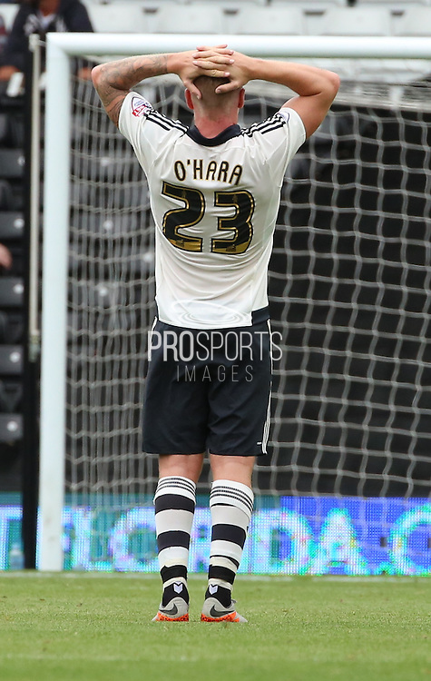 Jamie O'Hara cant believe Fulham missed an easy chance to go into the lead before half time during the Sky Bet Championship match between Fulham and Brighton and Hove Albion at Craven Cottage, London, England on 15 August 2015. Photo by Matthew Redman.