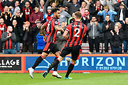 Goal - Joshua King (17) of AFC Bournemouth celebrates scoring a goal to make the score 2-2 with Simon Francis (2) of AFC Bournemouth during the Premier League match between Bournemouth and Crystal Palace at the Vitality Stadium, Bournemouth, England on 7 April 2018. Picture by Graham Hunt.