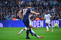 But Jeremy MOREL csc / Zlatan IBRAHIMOVIC - 05.04.2015 - Marseille / Paris Saint Germain - 31eme journee de Ligue 1<br />Photo : Dave Winter / Icon Sport
