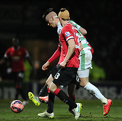 Yeovil Town's Kieffer Moore Shoots  - Photo mandatory by-line: Joe meredith/JMP - Mobile: 07966 386802 - 04/01/2015 - SPORT - football - Yeovil - Huish Park - Yeovil Town v Manchester United - FA Cup - Third Round