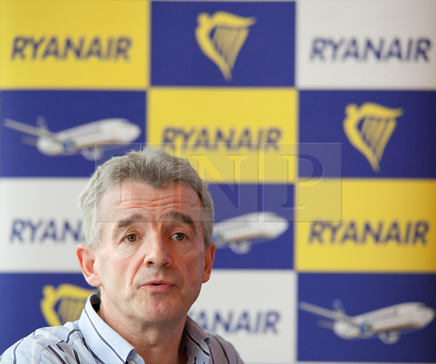 © Licensed to London News Pictures. 31/10/12 Airline Ryanair is to expand its operations and create an estimated 1000 jobs at airports in Liverpool, Manchester and the East Midlands. File picture dated 10/10/2011. LONDON, UK. Michael O'Leary, CEO of budget airline Ryanair, talks at a press conference about the launch of his company's new 'Cash Passport' debit card. The card, launched today (11/10/11) aims to allow Ryanair's regular customers to avoid its £6 admin fee when booking flights. Photo credit: Matt Cetti-Roberts/LNP