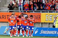 &Aring;lesund 20110410. Aalesunds Ville Jalasto (t.v.), Jonathan Parr, Demar Phillips, Jason Morrison, Enar J&auml;&auml;ger og Kjell Rune Sellin (t.h.) feirer 1-0 scoringen under eliteseriekampen i fotball mellom Aalesund og Haugesund p&aring; Color Line Stadion i &Aring;lesund s&oslash;ndag kveld.<br /> Foto: Svein Ove Ekornesv&aring;g