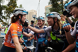 Ruth Winder (USA) celebrates the General Classification win with her teammates after Stage 4 of 2020 Santos Women's Tour Down Under, a 42.5 km road race in Adelaide, Australia on January 19, 2020. Photo by Sean Robinson/velofocus.com