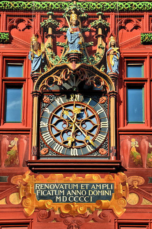 Rathaus Town Hall Clock in Basel, Switzerland <br />