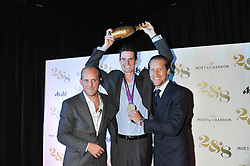Left to right, CARLO CARELLO, PETER WILSON London 2012 Gold Medal Winner and JAKE PARKINSON-SMITHat a party to celebrate the launch of the new 2&8 club at Morton's Berkeley Square, London on 27th September 2012.