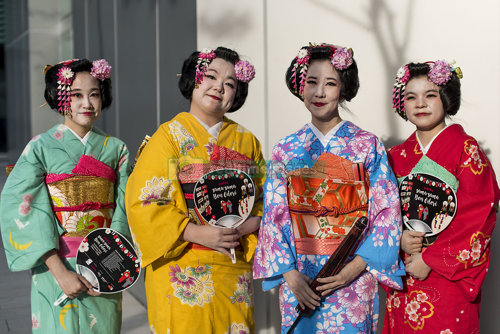 September 10, 2017 - Kuala Lumpur, Malaysia - Japanese ladies living in Malaysia wearing traditional Yukata costumes during the annual 'Bon Odori' festival celebrations in Kuala Lumpur, Malaysia on September 10, 2017. Hundreds of participants including both resident Japanese nationals and local Malaysians are celebrated the summer dance festival. (Credit Image: © Chris Jung/NurPhoto via ZUMA Press)