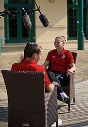 CARDIFF, WALES - Monday, April 1, 2019: Wales' Hayley Ladd during a media session at the Vale Resort ahead of a friendly against the Czech Republic. (Pic by David Rawcliffe/Propaganda)