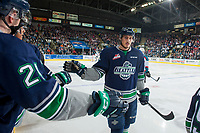 KELOWNA, CANADA - APRIL 30:  Alexander True #16 of the Seattle Thunderbirds celebrates a goal against the Kelowna Rockets on April 30, 2017 at Prospera Place in Kelowna, British Columbia, Canada.  (Photo by Marissa Baecker/Shoot the Breeze)  *** Local Caption ***