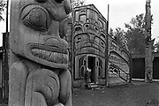 Tlingit Indian longhouse, K'san, Skeena Valley, British Columbia, Canada