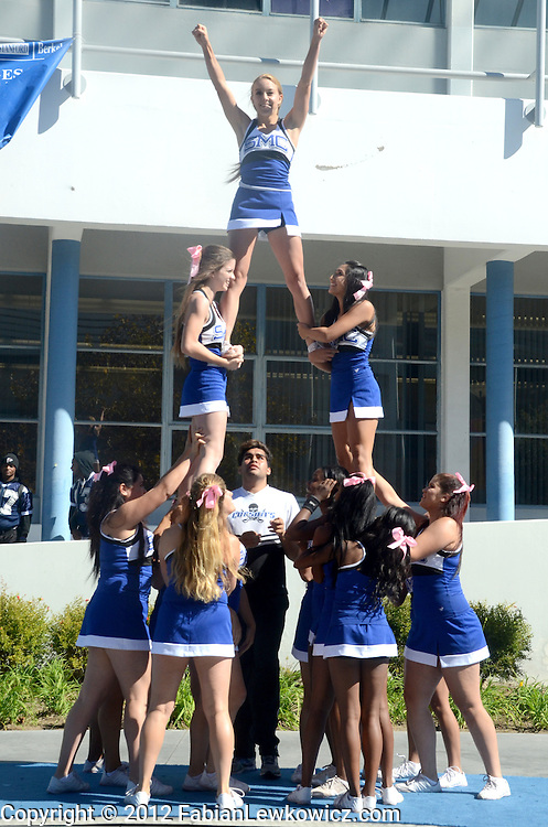 Santa Monica College Cheerleaders show team spirit during a pep rally for Saturday's home coming football game against Santa Barbara City College Vaqueros. SMC is 6 to 1. (Tuesday, October 23, 2012)